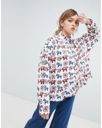 Sister Jane - Blouse With Peplum Hem In All Over Pony Print - Lyst