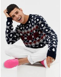 ASOS - Christmas Jumper With Festive Design In Navy - Lyst