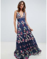 A Star Is Born - Embellished Prom Maxi Dress With Plunge Front In Multi - Lyst