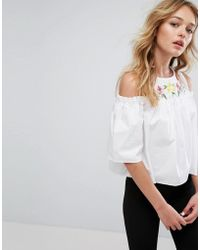 Pull&Bear - Cold Shoulder And Embroidered Top - Lyst