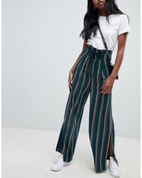 ASOS - Design Tailored Candy Stripe Lace Up Front Soft Wide Leg - Lyst