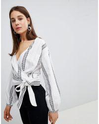 New Look - Dash Stripe Tie Side Blouse - Lyst