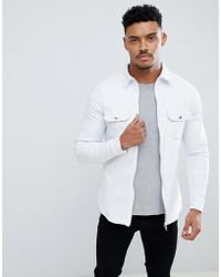 Liquor N Poker - Muscle Fit Stretch Denim Shirt With Zips - Lyst