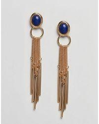 ASOS - Stone Chain Tassel Earrings - Lyst