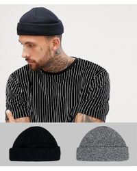 0fb0969620a ASOS - Mini Fisherman Beanie 2 Pack In Black   Twist Recycled Polyester  Save - Lyst