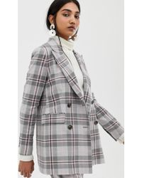 55bd809f SELECTED - Mika Double Breasted Check Blazer - Lyst