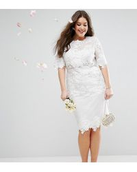 ASOS - Asos Edition Curve Lace Embroidered Midi Wedding Dress - Lyst