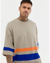 061784466 ASOS - Organic Oversized Super Longline T-shirt With Half Sleeve With  Bright Contrast Panels