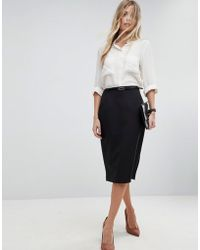 ASOS - Tailored Belted Pencil In Longer Length - Lyst