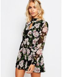 074a2397129 Fashion Union - Long Sleeve Playsuit In Floral Print - Lyst
