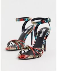 283fa8c1f69a Miss Selfridge - Heeled Sandals With Multi Straps In Snake Print - Lyst