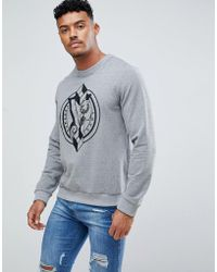Versace Jeans - Sweatshirt In Grey With Large Logo - Lyst