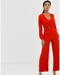 AX Paris - Long Sleeve Jumpsuit With Belt Detail - Lyst