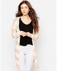 Vila - Snip Stripe Longline Cardigan In White & Brown - Lyst