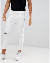 SIKSILK - Distressed Skinny Fit Jeans In White - Lyst