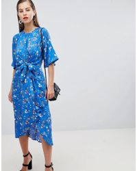 Y.A.S - Floral Tie Front Midi Dress With Kimono Sleeve - Lyst