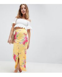 ASOS - Asos Design Petite Maxi Skirt With Button Front In Tea Floral Print - Lyst