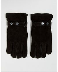 French Connection - Suede Gloves In Black - Lyst