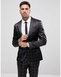 ASOS - Asos Super Skinny Suit Jacket In Printed Slogan Check - Lyst