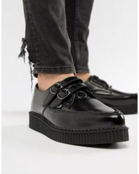 T.U.K. - 2 Buckle Leather Creepers With Zip Detail - Lyst