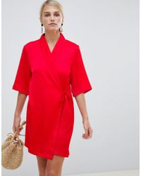 5ae8356cda35 Vila Aran Knit Jumper Dress With 3/4 Sleeves in Gray - Lyst