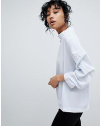 Pieces - Ruched Sleeve High Neck Sweatshirt - Lyst