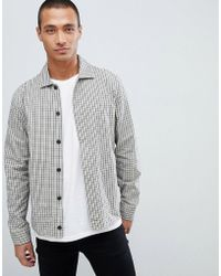 Lacoste L!ive - Lacoste L!ve Skinny Fit Check Zip Through Jacket In Beige - Lyst