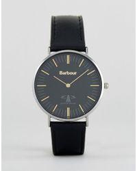 Barbour - Bb055bkbk Hartley Leather Watch In Black - Lyst