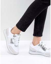 CALVIN KLEIN 205W39NYC - Tanya White And Silver Chunky Trainers - Lyst