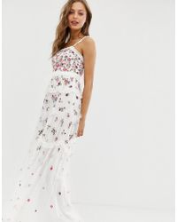 a3d66e036ef Needle   Thread - Allover Multi Embroidered Cami Strap Maxi Dress In Ivory  - Lyst