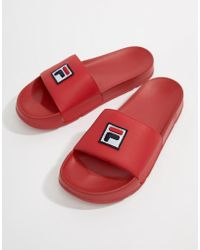 Fila - Drifter Box Logo Sliders In Red - Lyst