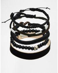ASOS - Leather Bracelet Pack In Black - Lyst
