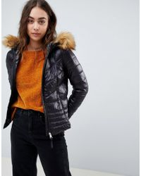 Vero Moda - Faux Fur Hooded Padded Jacket - Lyst