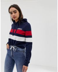 Hollister - Cropped Hoodie With Small Chest Logo In Stripe - Lyst