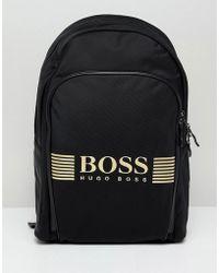 BOSS - Pixel Back Pack Nylon Gold Logo In Black - Lyst