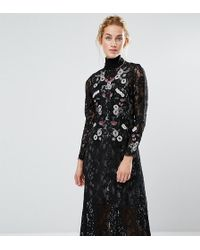Hope and Ivy - Hope & Ivy Midi Dress In Lace And Embroidery - Lyst