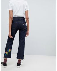 Iceberg - Straight Leg Crop Jeans With Floral Applique - Lyst