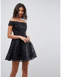 Hell Bunny - Paris Lace Off Shoulder Skater Dress - Lyst