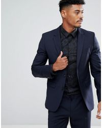HUGO - Slim Fit Stretch Suit Jacket In Navy - Lyst