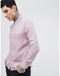 Pretty Green - Slim Fit Button Down Shirt In Pink - Lyst