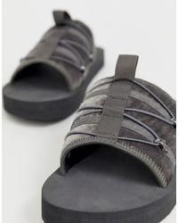 ASOS - Tech Sliders In Grey With Elastic Closure - Lyst