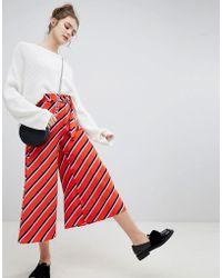 Bershka - Wide Leg Diagonal Stripe Trouser In Red - Lyst