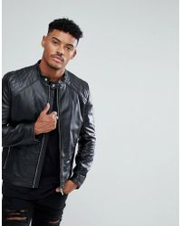 HUGO - Hugo Biker Jacket In Black - Lyst