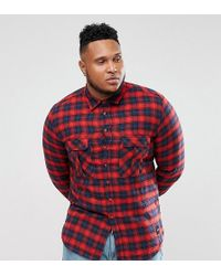 Sixth June - Plus Oversized Flannel Check Shirt In Red - Lyst