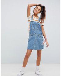 822d83e43099 Lyst - Asos Denim Midi Skater Dress With 3 4 Sleeve in Blue