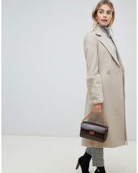 Fashion Union - Wrap Coat With Faux Fur Cuffs - Lyst