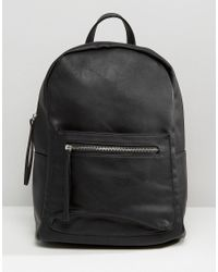 Pieces - Simple Backpack With Zip Pocket - Lyst