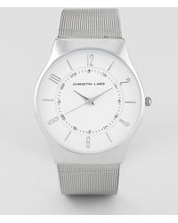 Christin Lars Mesh Strap Watch In Silver With White Dial - Metallic