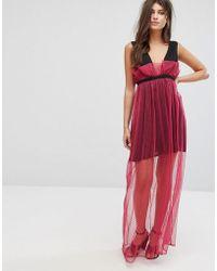 Fashion Union - Maxi Dress With Sheer Metallic Spot Mesh Layer - Lyst