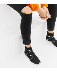 ASOS - Wide Fit Decorate Embellished Sock Sneakers - Lyst